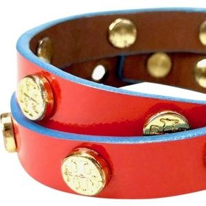 Tory Burch red stud leather logo bracelet